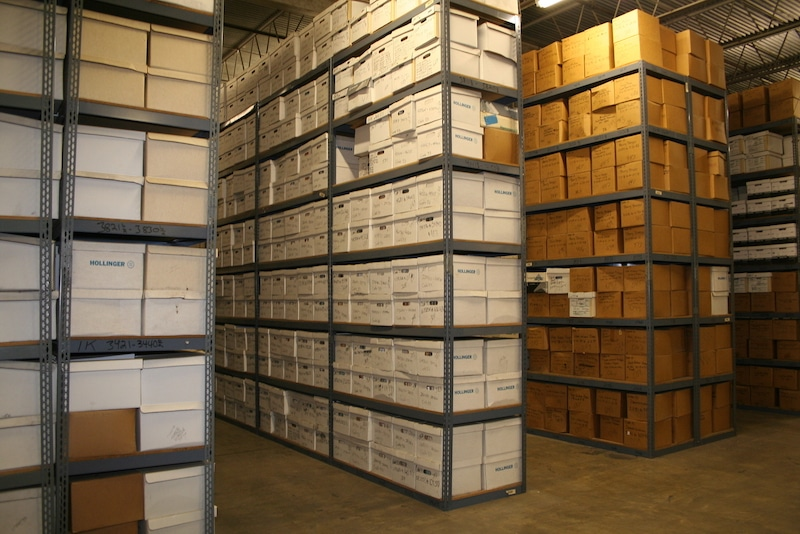 records storage warehouse at A and P in Marin County