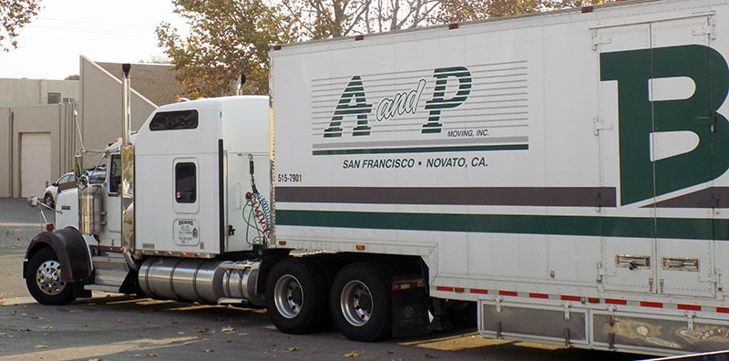 A and P Moving Truck arriving onsite for Long distance move in Novato CA