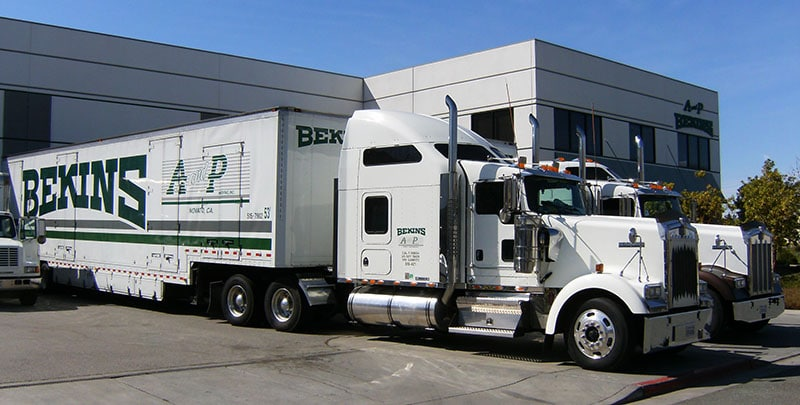 A and P Moving trucks at warehouse in Novato CA